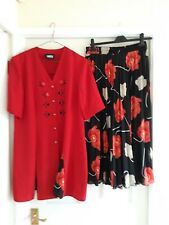 Unusual vintage floaty floral skirt and matching long red jacket/ top size 16.