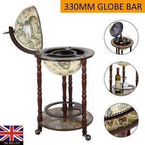 Globe Retro Style Mini Bar Drink Cabinet Mobile Wine Alcohol Beverage Trolley UK