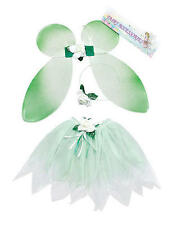 Childrens Green Fairy Set Wings Tutu Tinkerbell Magical Princess Fancy Dress
