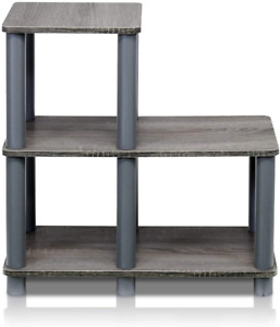 Turn-N-Tube Accent Decorative Shelf, French Oak/Grey Living Room Furniture New