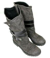 Blowfish Malibu Dark Gray Rider 1906 Zip & Snap Boots 7 1/2 Buckles