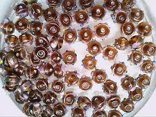 Vtg 50 DARK AMBER WEDDING CAKE GLASS BEADS EXOTIC  :D #111513dd