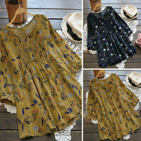 Vintage Femme Floral Printed Manche 3/4 Casual Mince Tops Chemises T-shirts Plus