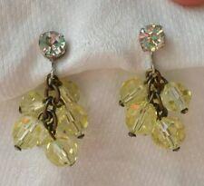 Retro Designer Castlecliff Vintage Clip Earrings Dangle