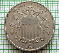 UNITED STATES 1867 5 CENTS - SHIELD NICKEL - WITHOUT RAYS, HIGH GRADE