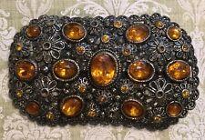 Vtg New England Glassworks Etruscan Filigree Amber Topaz Glass Brooch Pin-Estate