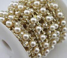 1 Yard 2 Rows Clear Crystal Rhinestone Pearl Gold Chain Sewing On Trim Applique