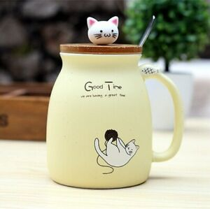 Ceramic Cat Mug With Lid And Spoon Coffee Gift Funny Cup Cute Kitten Milk Cats