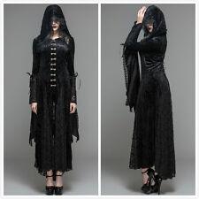 Devil Fashion CT044 Black Gothic Punk Visual Kei Long Lace Hooded Dress Coat