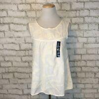 Gap Women's NWT White Embroidered Sleeveless Hippie Boho Tank Top Shirt Small