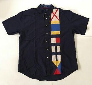 Vintage Tommy Hilfiger Mens Sz XL Button Down Shirt Color Block Spellout Navy