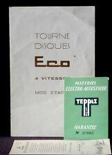 Mode d'emploi Teppaz Eco Carte de garantie Pellmann, Saverne 1957 Bon état