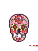 Skull Embroidered Iron On Sew On Patches Transfers Badges Pink Rose Flower Patch