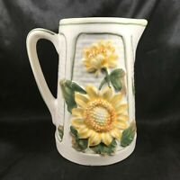 Ceramic Embossed Sunflower Country Kitchen Pitcher