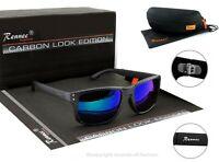 Rennec Herren Sonnenbrille Sport Carbon Nerd Rechteckig Schwarz Blau 14CB BOX