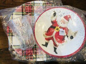 Pottery Barn Kids Jolly Santa Plate Tumbler Charger Christmas Plaid Cup Set Sing