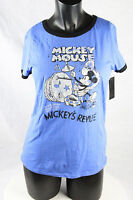 Disney Deluxe Collection Women's Mickey Mouse T Shirt Top Cotton Blue Small NWT