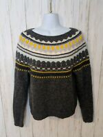 Gap Womens Medium Sweater Gray Fair Isle Mohair Wool Blend Chunky Knit Pullover