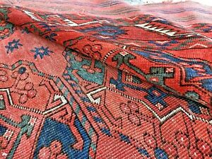 Auth: Antique Turkmen Bukhara Ersari Tribes Main Tent Rug Red Wool Beauty 7x9 NR