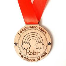 Personalised Graduated from Mum Medal Homeschool Oak Wood Lockdown School Gift