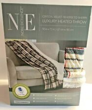 Noble Excellence Velvet/Sherpa Heated Electric Throw Blanket Plaid/Marsh New