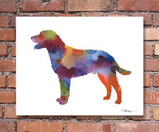 Curly Coated Retriever Abstract Watercolor Painting Art Print by Artist Djr
