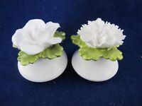 Denton SALT and PEPPER SHAKERS White Rose & Carnation on Green Leaf 439062 small