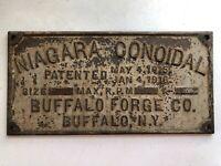 Antique (1915) Cast Iron Niagara Conoidal Buffalo Forge Co. Buffalo, NY Plaque