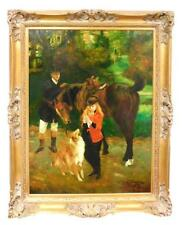 V.SUBOTNICK (20TH C.) OIL ON CANVAS; GROOM READYING HORSE FOR YOUNG RIDER
