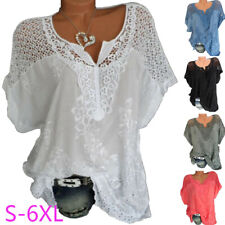 Women Summer Casual Short Sleeve T Shirt V-Neck Lace Floral Tops Loose Blouse