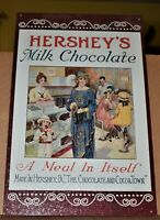 """1996 Metal Sign Hershey's Milk Chocolate  """"A Meal In Itself"""" Excellent Condition"""