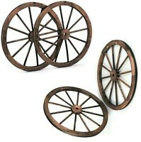 "Antique Style Wagon Wheel Set Of 4 Wooden Wheels Vintage Patio Garden Decor 30"""