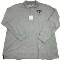 Tri Mountain Mens Long Sleeve Polo Shirt Size XL Gray Golf Knit NEW Casual