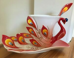 Red Peacock Tea/Coffee Cup Set, Porcelain, With Saucer and Spoon