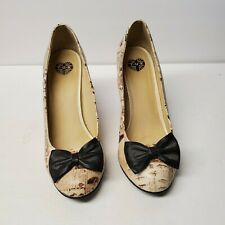 "T.U.K TUK US 11 Black Bow Newsprint ads 3.5"" Heel Pumps Shoes pin up"