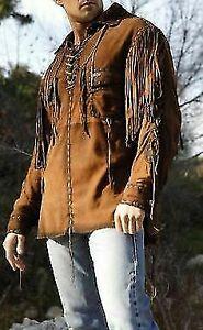 Men's Native American Buckskin Suede Leather Western Jacket With Fringe Shirt