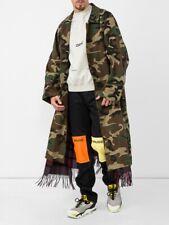 $4210 VETEMENTS green camo scarf gabardine trench coat authentic - Small