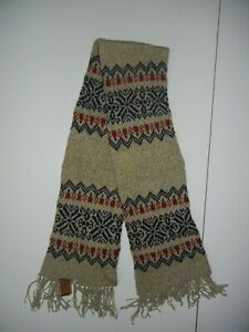 Vtg 80s PENDLETON Brown/Blue Knit WOOL WINTER SCARF Christmas Hiking Warm Gear
