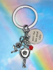 UNTIL THE LAST PETAL FALLS KEYRING KEYCHAiN BEAUTY AND THE BEAST ROSE BAG CHARM
