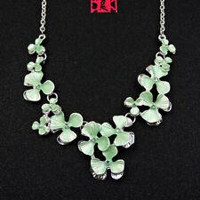 Betsey Johnson Green Rhinestone Beautiful Flower Pendant Chain Sweater Necklace