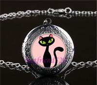Black Cat Cabochon LOCKET Pendant Silver Chain Necklace USA Ship #170