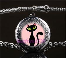 Black Cat Photo Cabochon Glass Gun Black Locket Pendant Necklace
