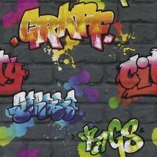 Rasch graffiti urbano papel pintado multi sombras efecto de muro ladrillos