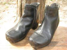 Dansko Scout Womens Ankle Bootie Clog Boot Side Zip Black Leather Sz 38  7.5