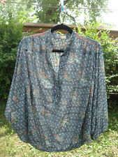 Vintage 70s Sheer Blue Floral Blouse Top Butterfly Sleeve Hippie Boho Festival