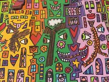 """James Rizzi: Original 3d, 'look there are Cows in the City"""", Hand Signed, 2000"""