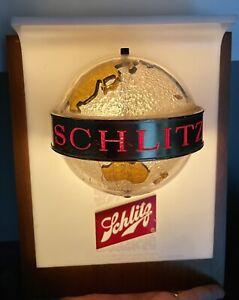 Vintage SCHLITZ BEER Lighted Light Sign Spinning Globe World - Works 1950s 60s