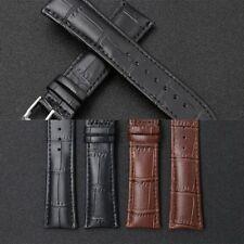 Men Brown Black Band Genuine PU Leather Watch Strap