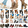 New Fashion Womens Ankle Boots Low Block Heels Booties Pumps Casual Shoes Size