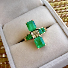 4.24CT Twin Natural Fine Colombian Emerald & Diamond Art Deco Style Ring 18K